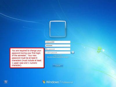 Windows Login Screen with change password prompt