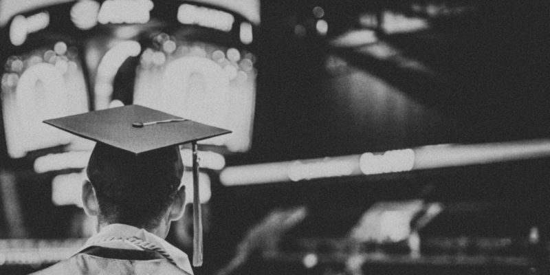 graduation in black and white