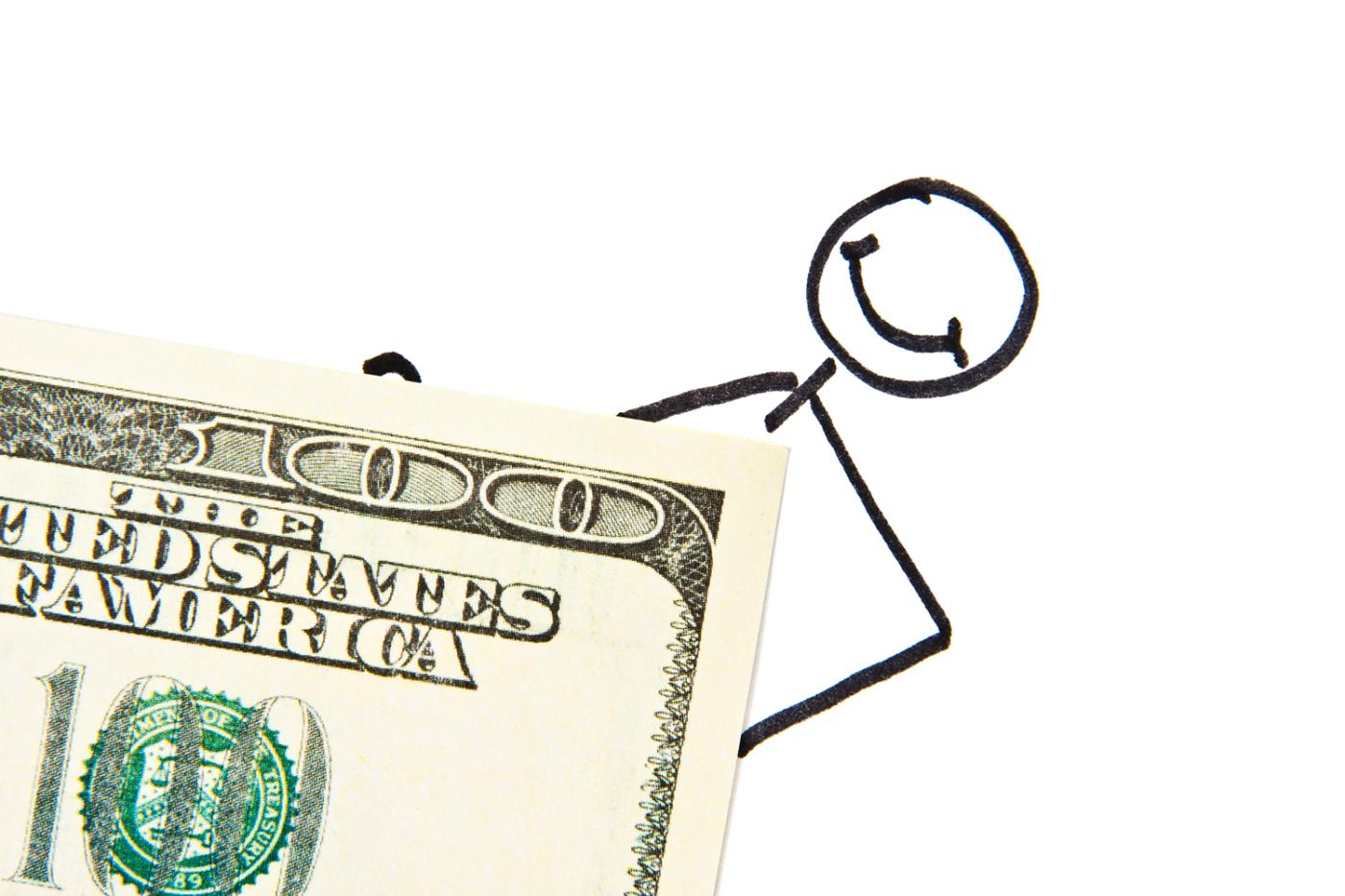Drawn stickman with money