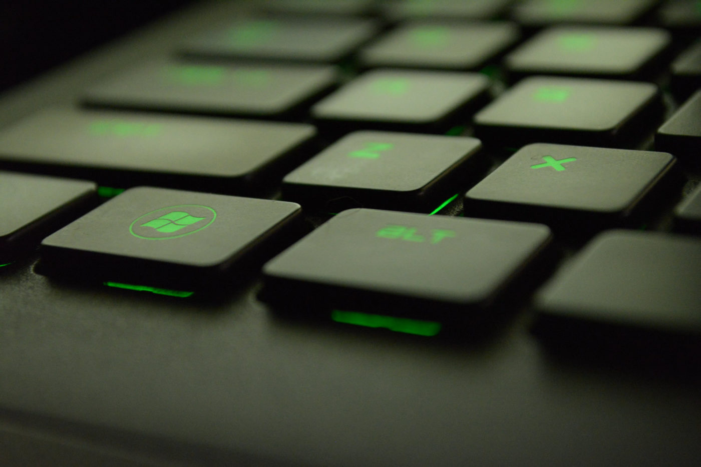 Keyboard with green highlight