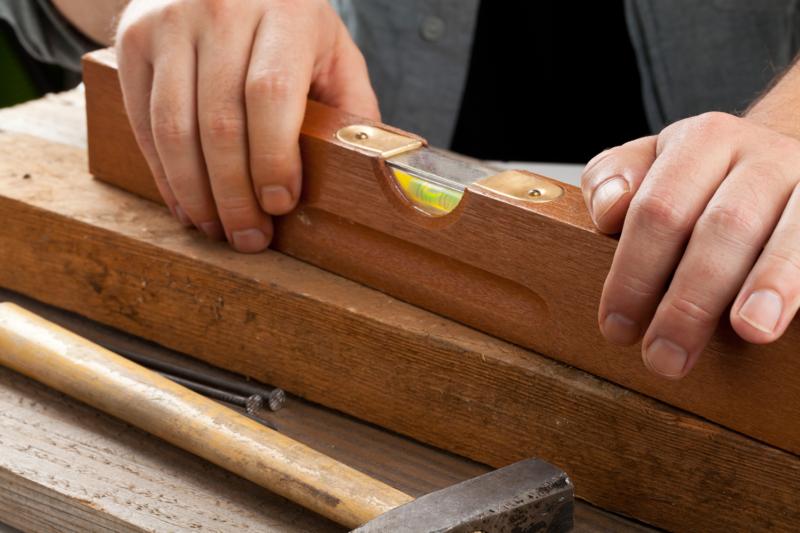 Carpentry level on wood