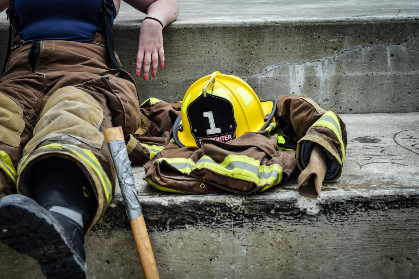 Fire fighter resting