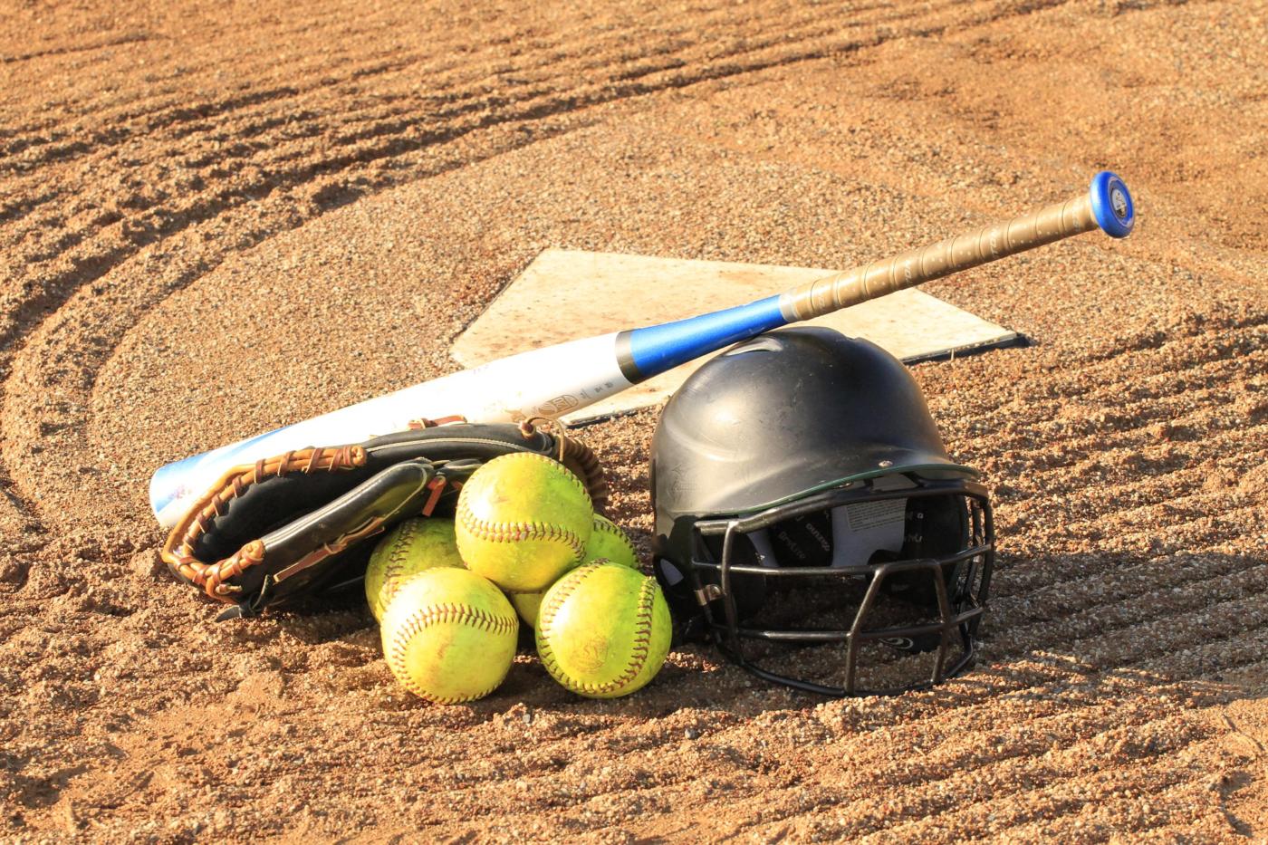 Softball equipment on field