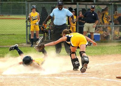 Softball slide into home