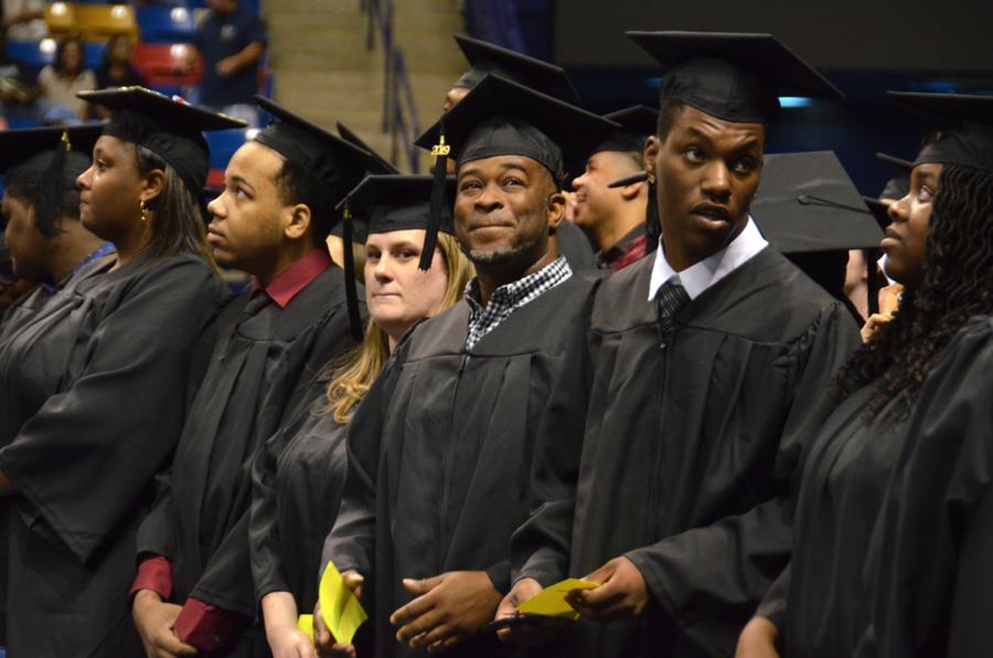 Grads on floor