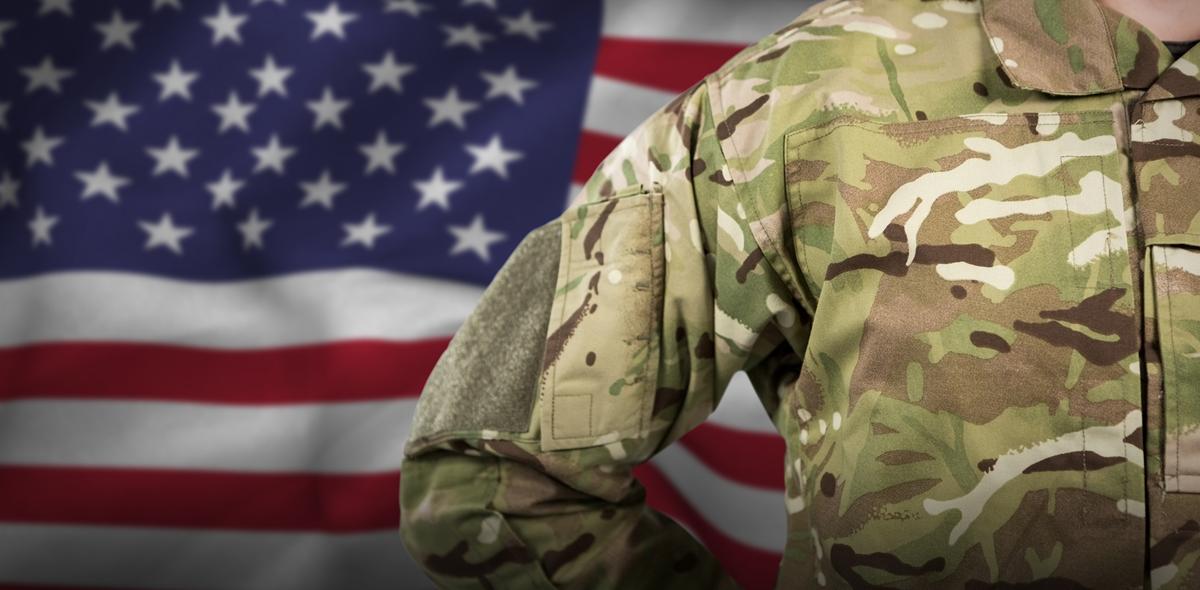 US military uniform flag background