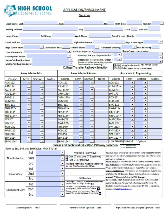 Hsc Enrollment Form