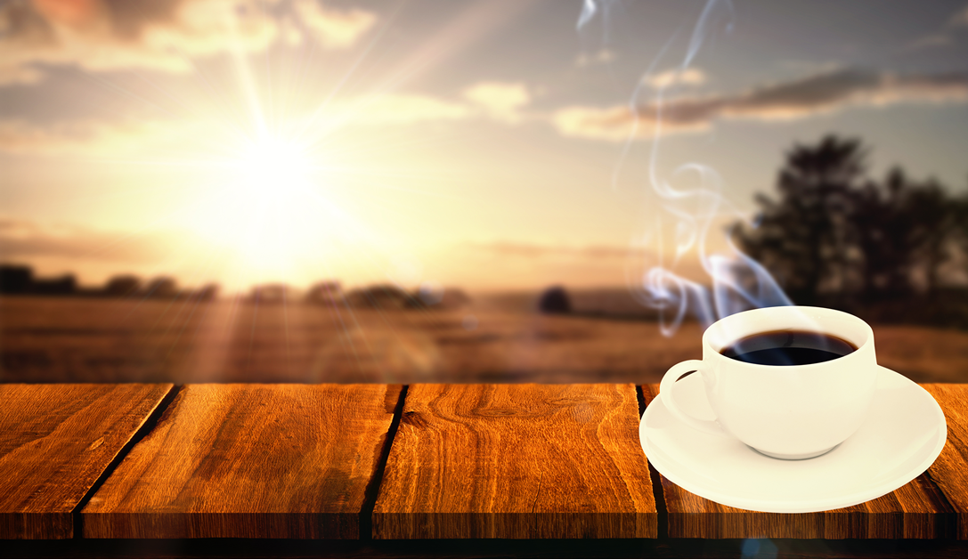 Coffee Cup On Wooden Ledge
