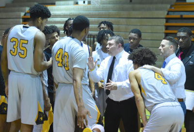 Men's basketball huddle