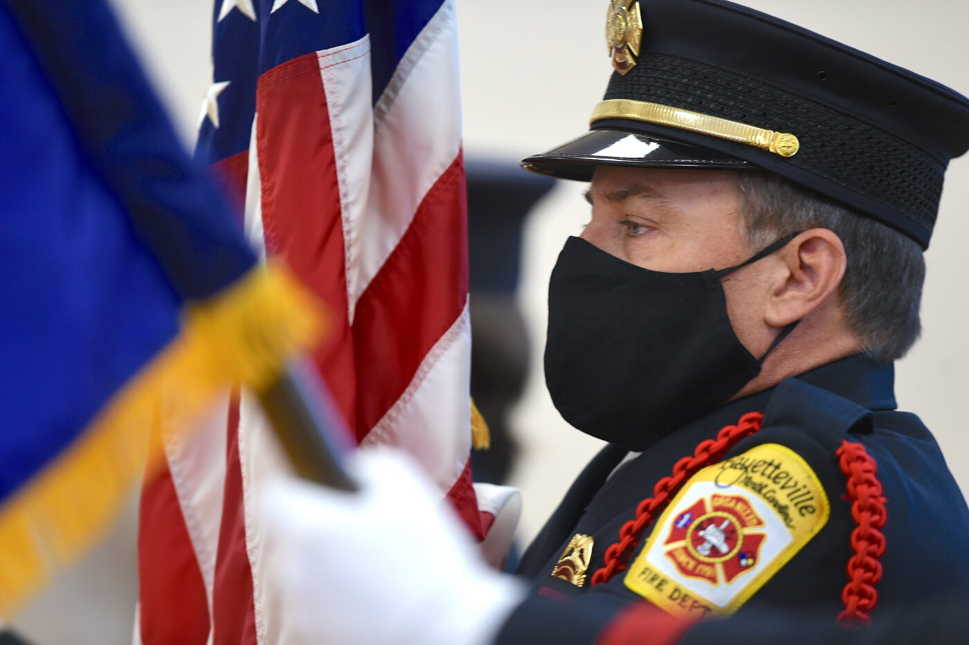 Firefighter with flag