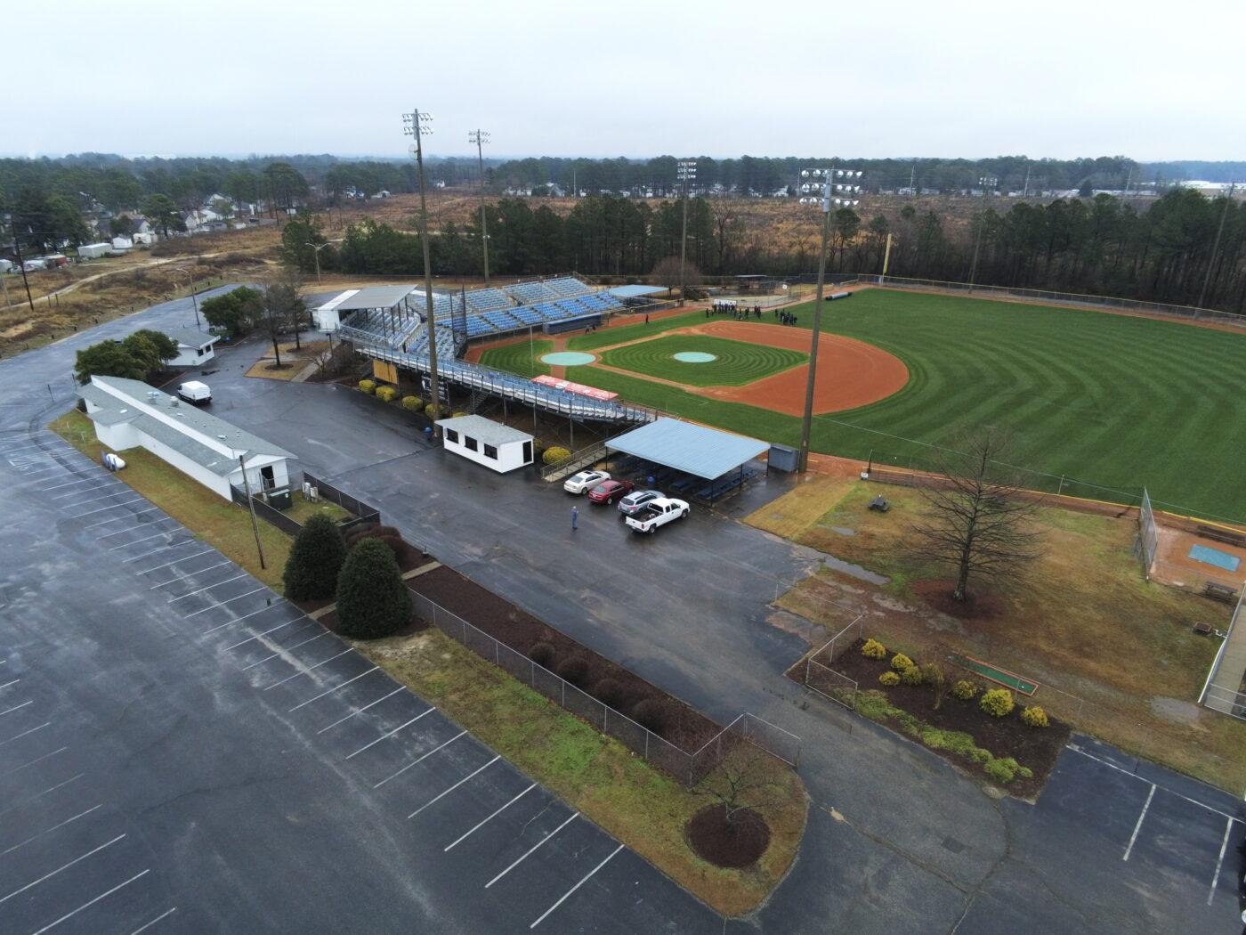 JP Riddle Stadium parking lot view