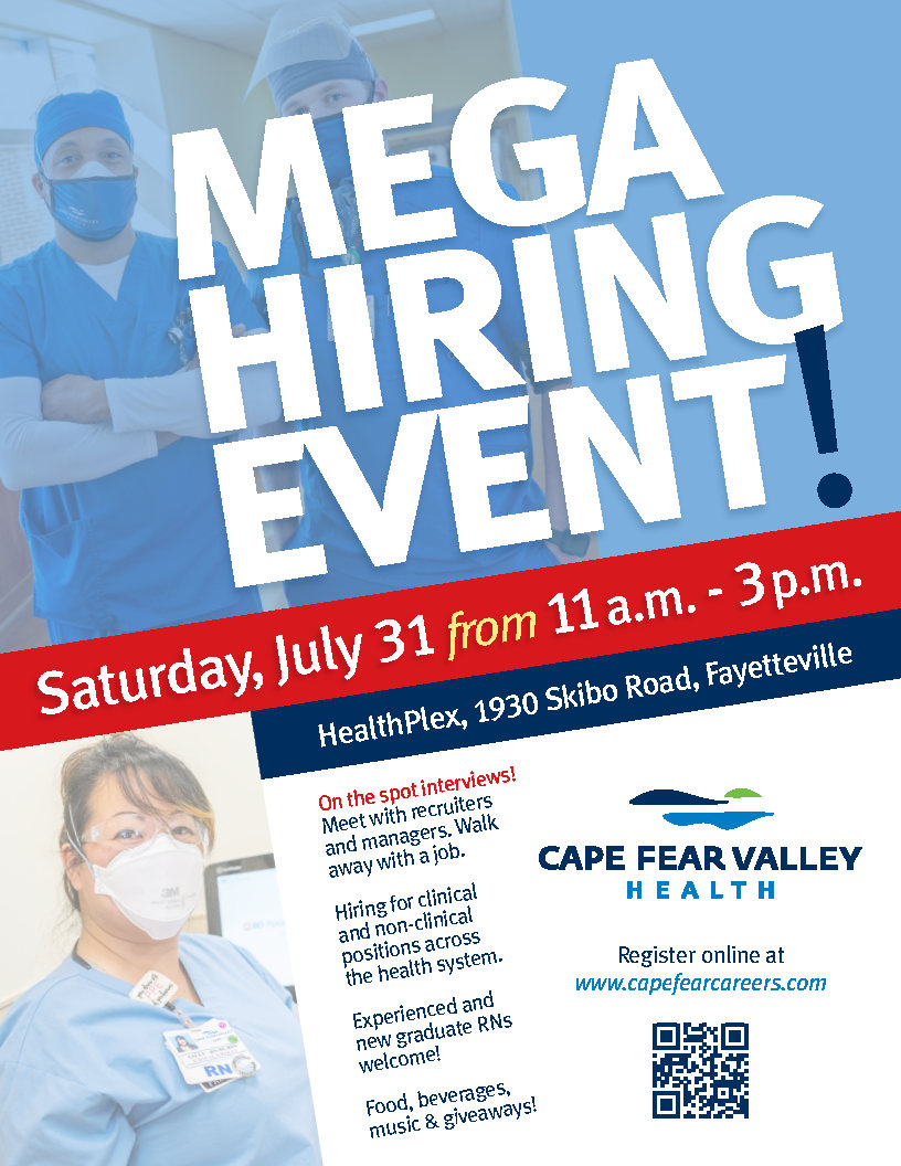 Cape Fear Valley Hiring Event Flyer 07.31.21