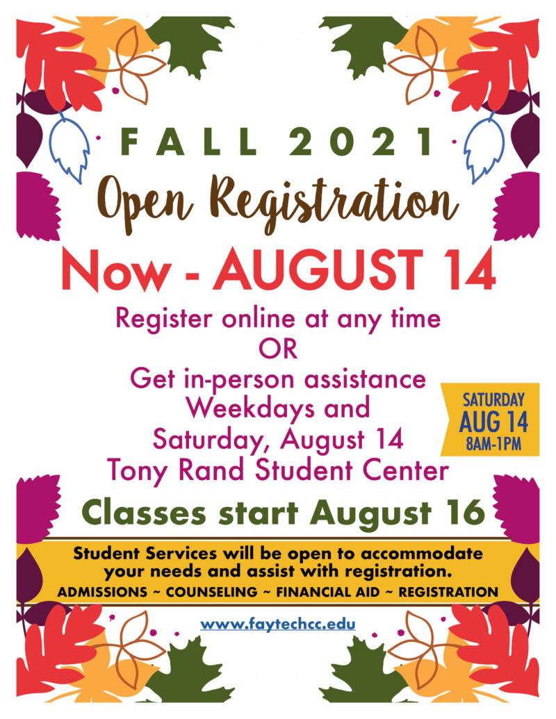 Fall 2021 Open Registration Flyer